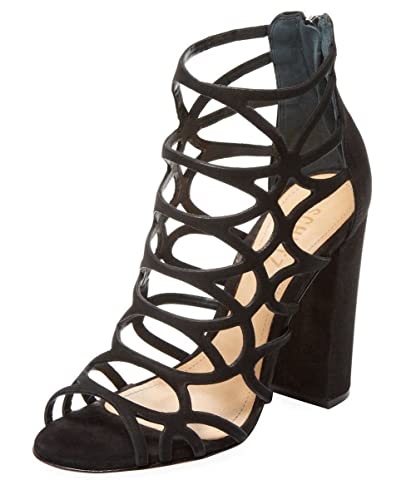 4cf6b97f515 SCHUTZ Ingriditte Black Nubuck Leather Caged Single Sole Thick Heel Sandals  (5.5)