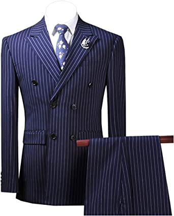 Men/'s Fashion Navy Blue Striped Blazer Pants Two Piece Groomsmen Wedding Suits