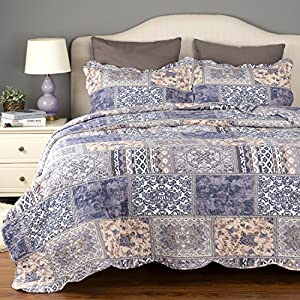 Bedding Quilt Set Luxury Bedroom Bedspread Blue Blending Patchwork Twin size 106X96 Microfiber Lightweight Vintage by Bedsure