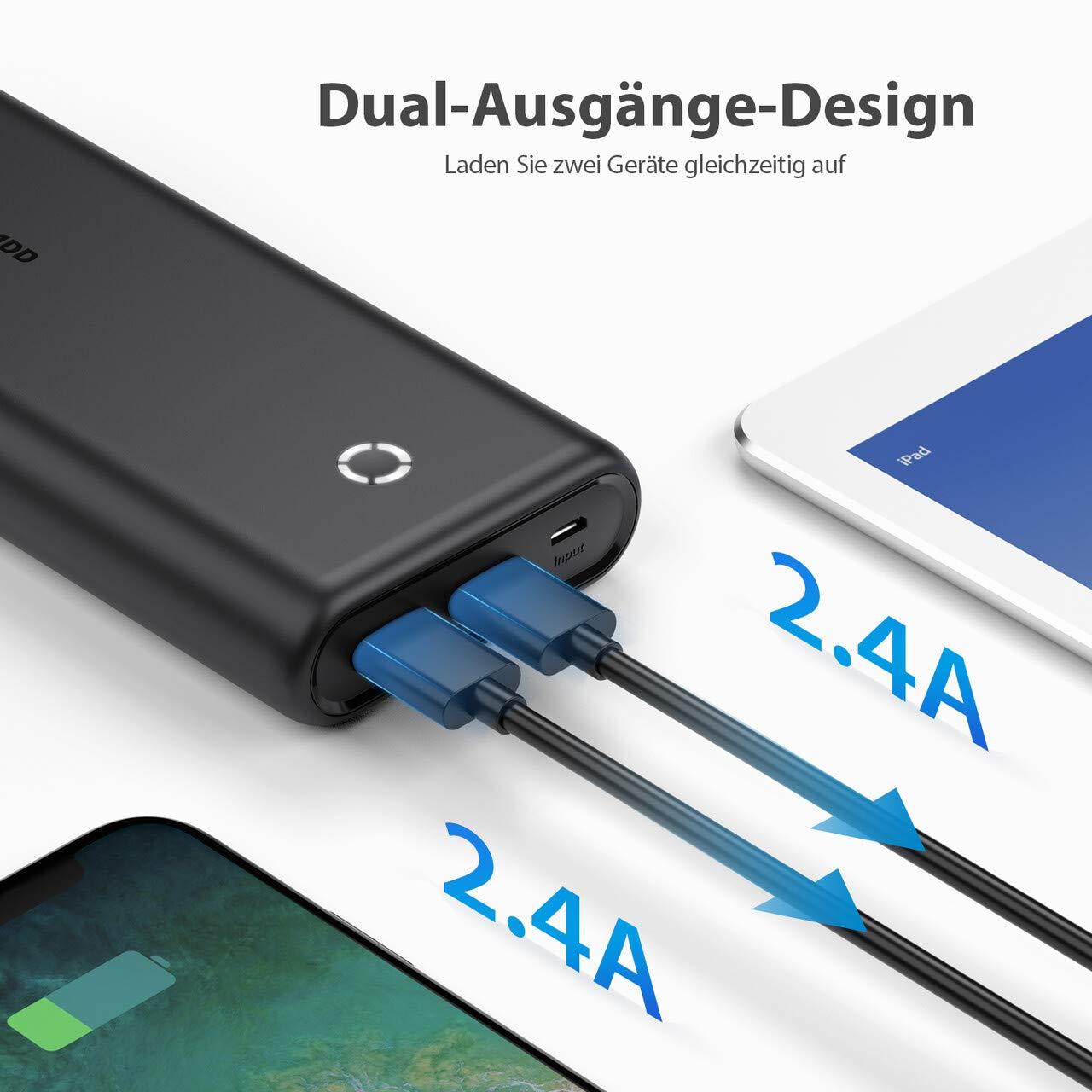 POWERADD EnergyCell 20000mah Powerbank, Power Bank für Handy, iPhone, iPad, Samsung Galaxy Huawei und weitere Smartphones