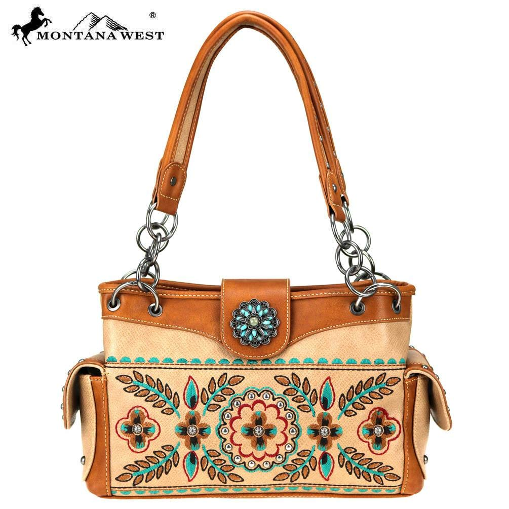 Tan Montana West Womens Satchel Purse Embroidered Collection Floral Pattern MW7808085