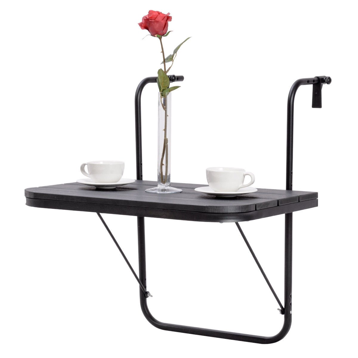 Adjustable Folding Deck Table Patio Balcony Serving Table Stand Hanging Railing