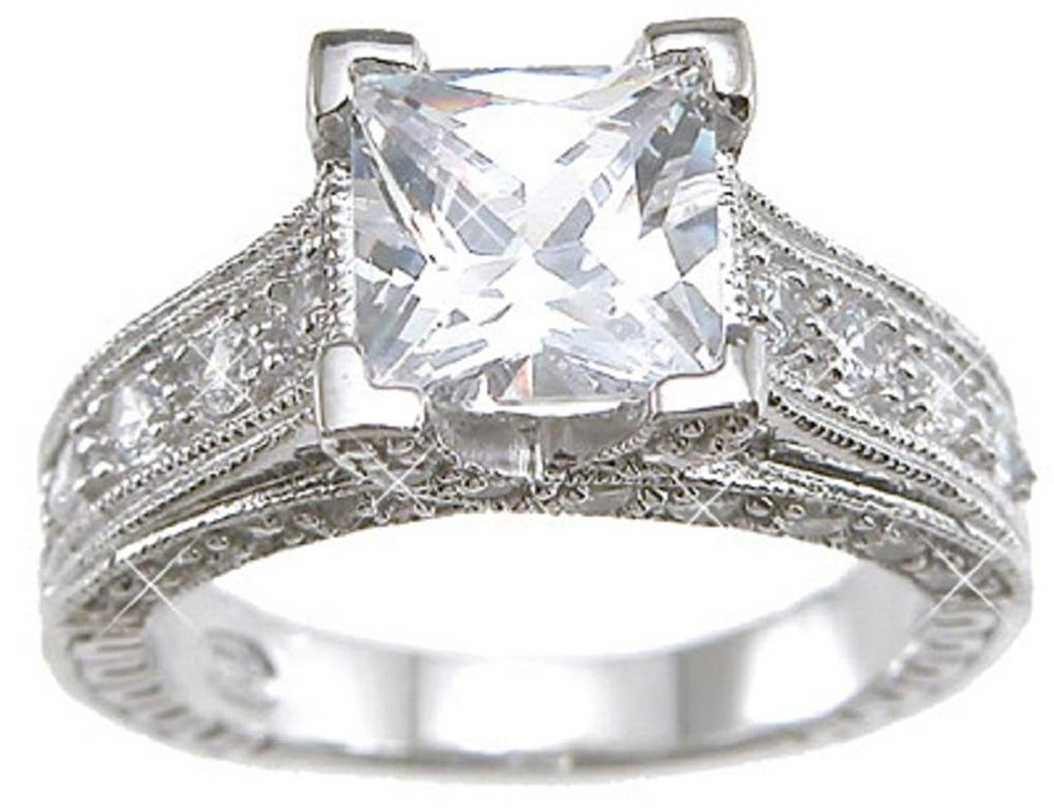 Superieur Amazon.com: Sterling Silver Cubic Zirconia CZ Princess Cut Engagement  Promise Ring Size 5 6 7 8 9 And 10: Jewelry