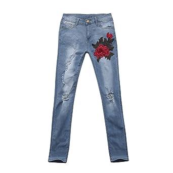 Kinlene Pantalones de Mujer de Pantalones Vaqueros con Orificios Rotos y Pantalones elásticos de Cintura Alta y Pantalones elásticos: Amazon.es: Ropa y ...