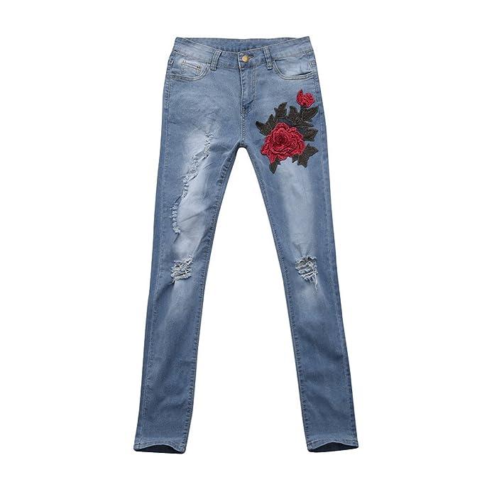 Kinlene Pantalones de Mujer de Pantalones Vaqueros con ...