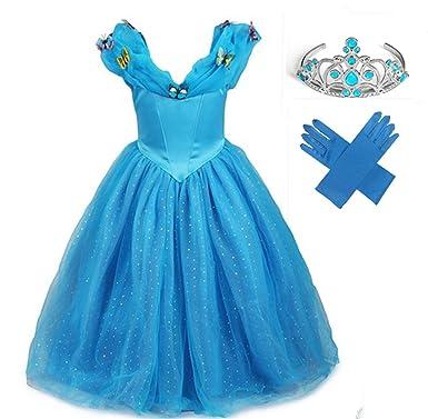 GenialES® Disfraz Vestido de Princesa con Guantes Diadema Azul Lindo Disfraz de Cumpleaños Carnaval Fiesta