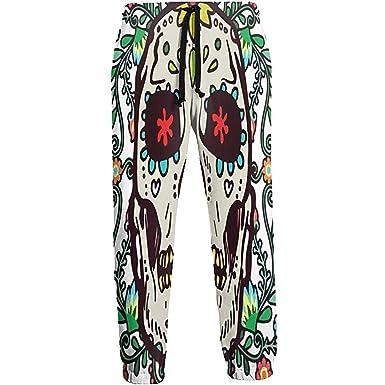 Emild Pantalones de chándal para Hombre Flores de Color Calavera ...