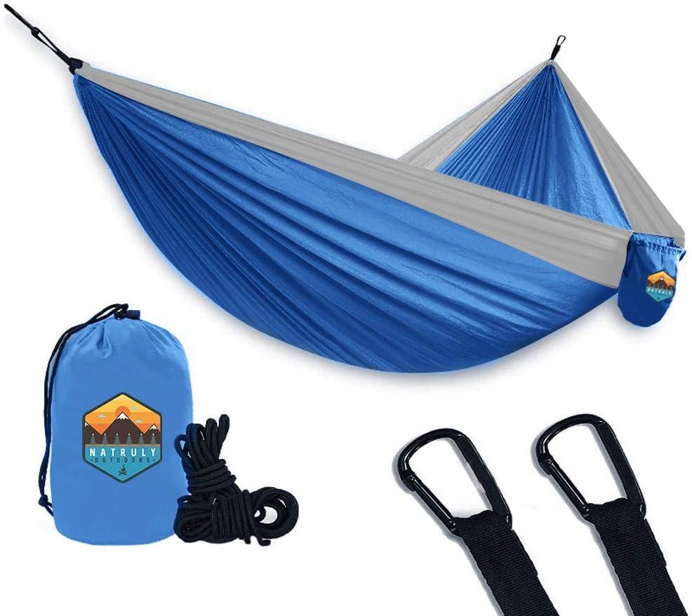 USA Brand Single Parachute Hammock Lightweight Nylon Portable Adult Kids Best Accessories Gear Indoor Outdoor Natruly Camping Hammock Light Blue