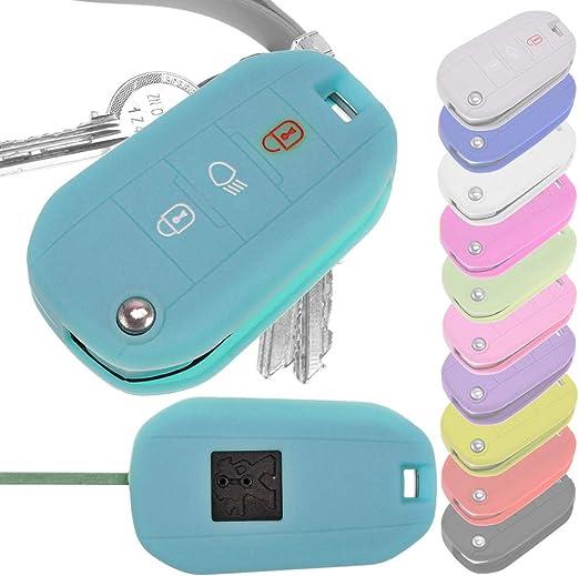 Auto Schlüssel Hülle Silikon Schutz Cover Fluoreszierend Blau Für Peugeot 208 508 Traveller Spacetourer 308 301
