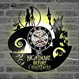 Flawless workshop The Nightmare Before Christmas Theme CD Record Clock 3D Jack and Sally Film Hanging LED Wall Clock Creative Antique Clock (LED)