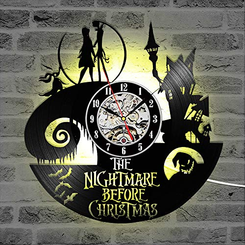 Flawless workshop The Nightmare Before Christmas Theme CD Record Clock 3D Jack and Sally Film Hanging LED Wall Clock Creative Antique Clock (LED) -