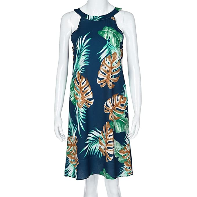 Wawer Vestido de Playa de Algodón Mujer, con Impresión de Hojas, Maxi Vestido de Noche, Casual, sin Mangas, sin Mangas, para Fiesta, Cóctel, Boda, Playa.