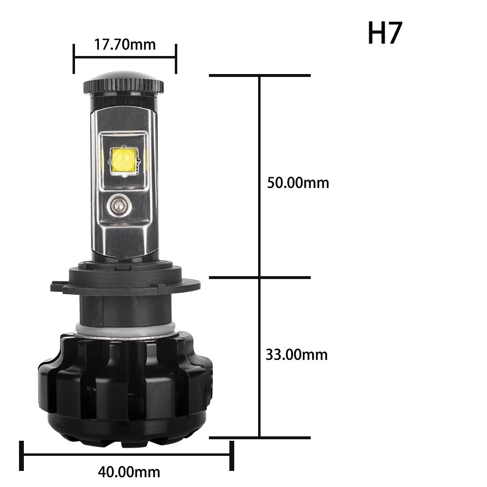 HOLDCY H7 LED Headlight Bulbs Conversion Kit, Super Bright Top CREE  (XHP50+XM-L2) 80W 9600lm 6000K White Canbus Adjustable Beam, Fog  Light,Change HID