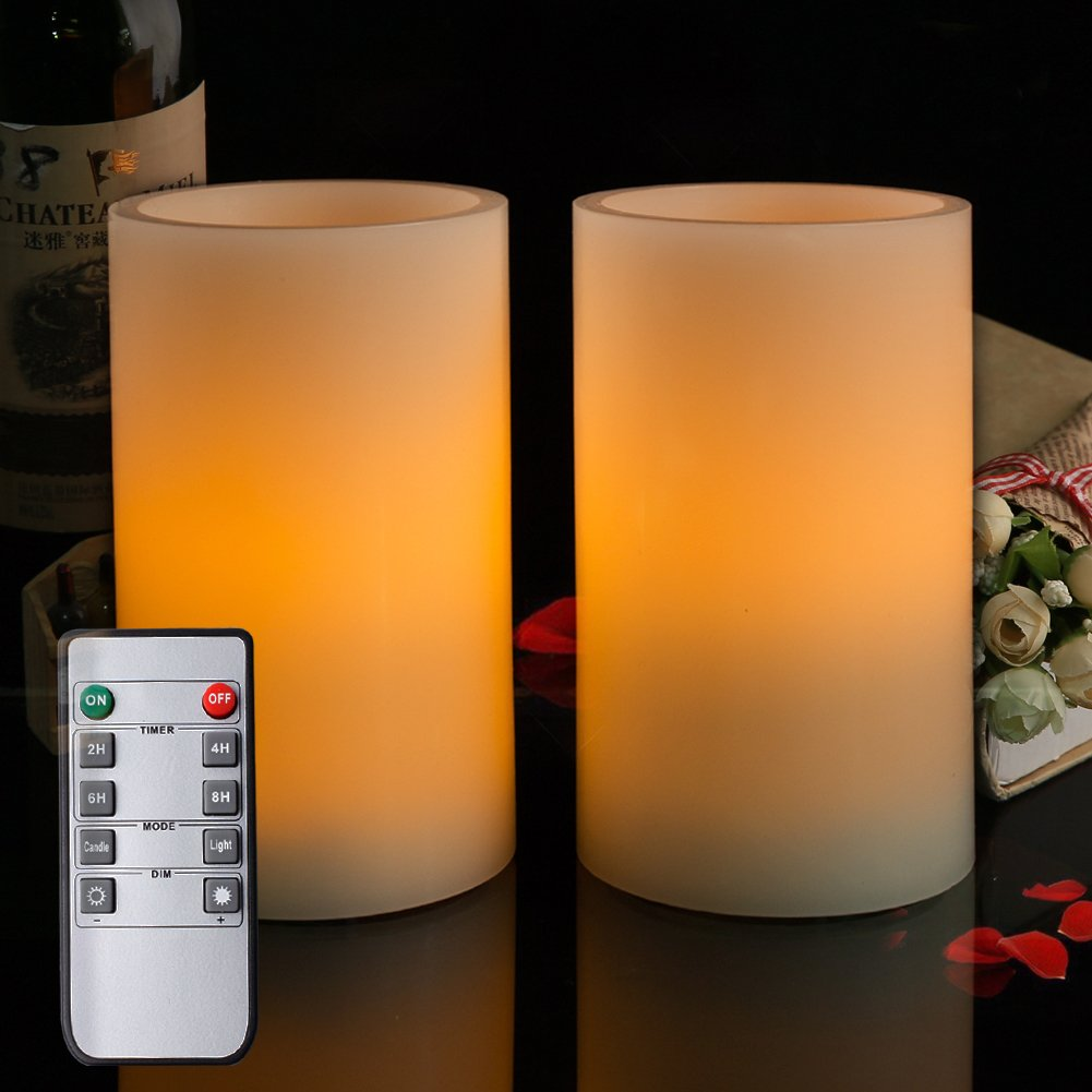 Homemory 5 Real Wax Flameless Flickering Candles Battery Operated LED Pillar Candles, with Remote Control & Convenient Timer for Wedding, Party, Festival (Pack of 2) Global Selection HYKZL2H5YK