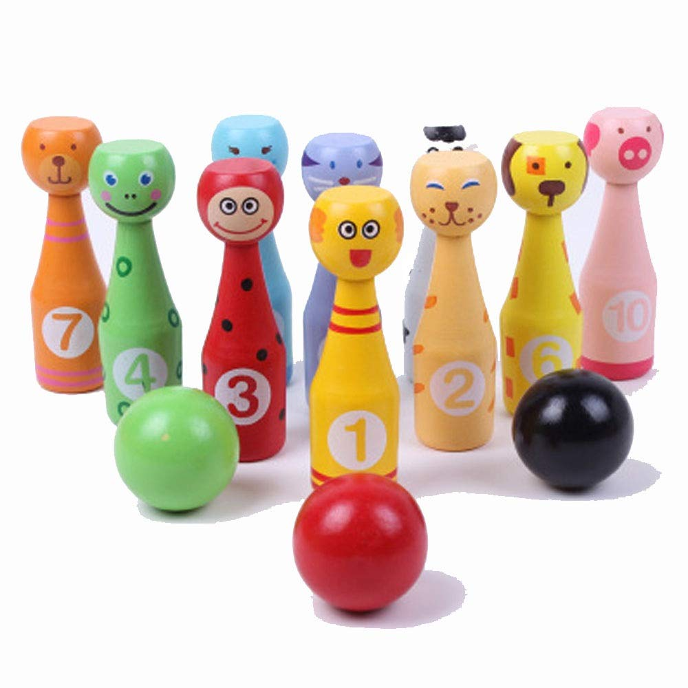 KMCMYBANG Bowling Toy Toys of Wood Oxford Wooden Skittles for Children -Wooden Skittle Set Animal Faces 12 Pieces Large Size - Wooden Toys 2 Year Old Children's Bowling Toys Kids Bowling Toys by KMCMYBANG