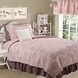 Cotton Tale Designs 100% Cotton Pink & Charcoal Gray/Grey, Brown Floral & Polka Dot with Cream Faux Fur Twin 5 Piece Reversible Quilt Bedding Set - Girl