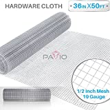 Patio Paradise 1/2 36-Inch x 50-Feet 19 Gauge Wire Mesh Galvanized Hardware Cloth for Garden Plant Rabbit Chicken Run Chain Link Fencing Guard Cage