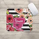 Personalized Mouse Pad - Watercolor Flowers - Custom Personalize Gift MousePad