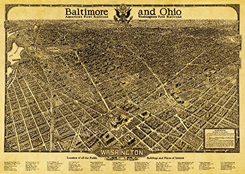 (District of Columbia, Washington - Panoramic Map (36x54 Giclee Gallery Print, Wall Decor Travel Poster))
