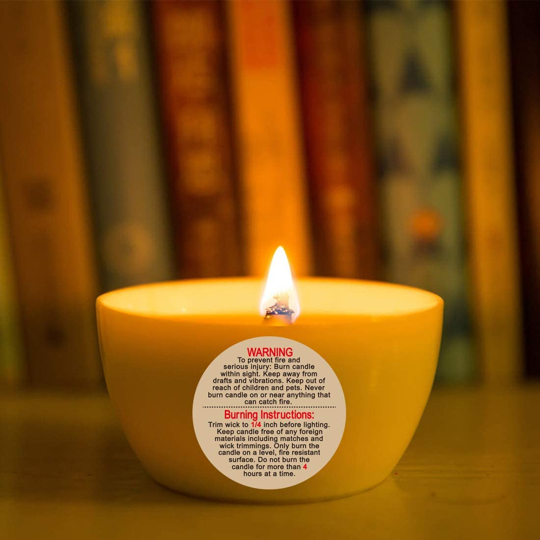 Candle Labels Natural Kraft Candle Warning Stickers for Candle Jar Container,Tins and Votives Waterproof 500 pcs per Roll 2 inch