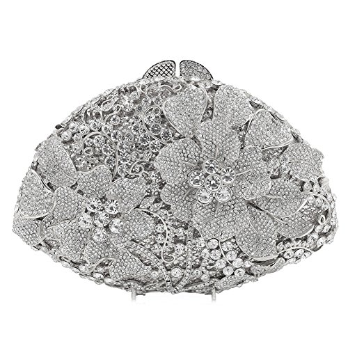 Flada Women's Luxurious Rhinestones Flabellate Evening Clutch Hollow Flower Wedding Handbag Silver by Flada
