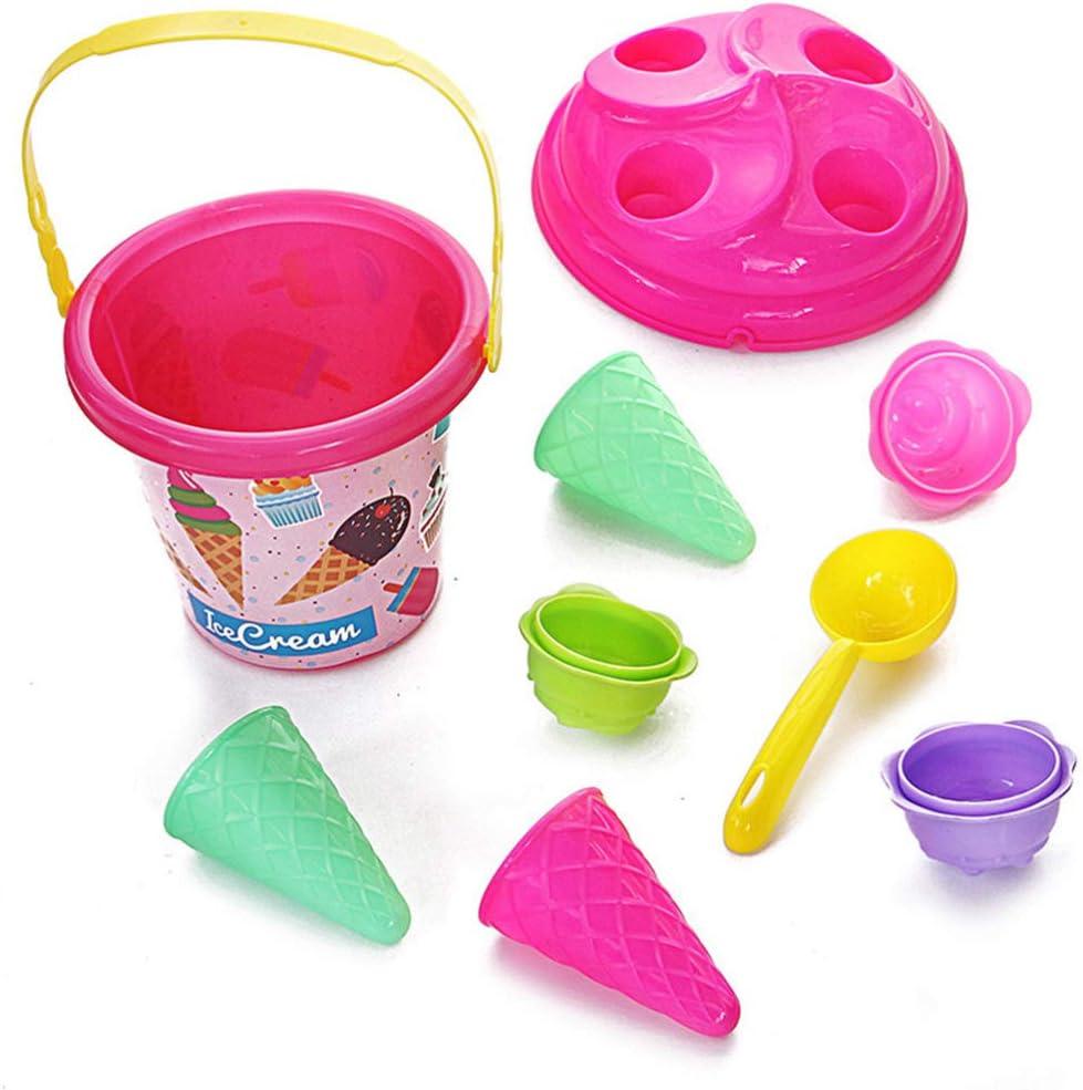 Set Giocattoli da Spiaggia per Bambini Kit di Attrezzi per Pala da Spiaggia per Secchiello da Sabbia Modelli di Sabbia per Gelato per Bambini Piccoli TOYANDONA 6pcs