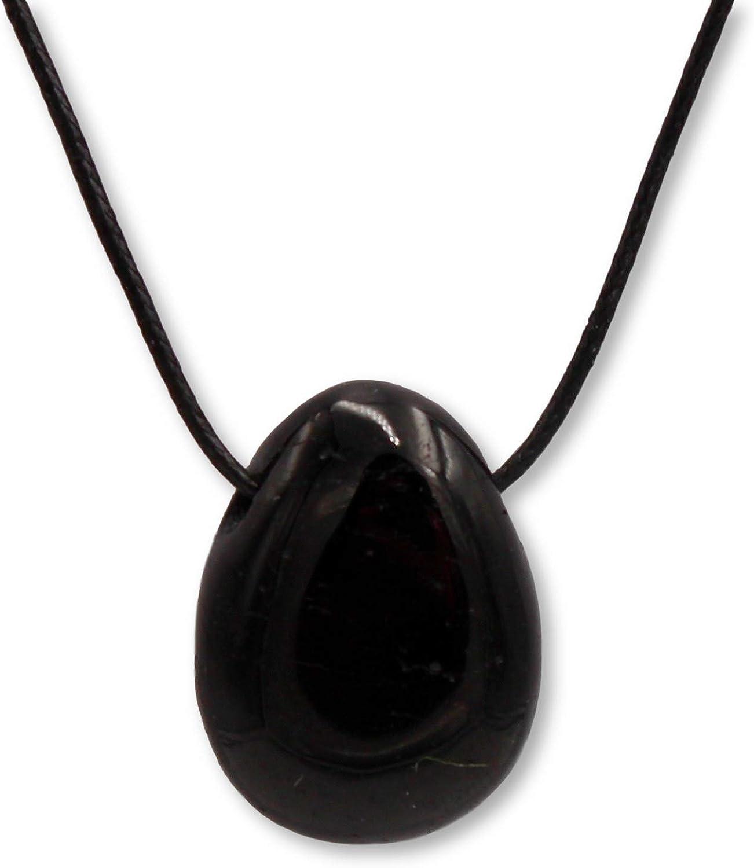 Taddart Minerals - Colgante de piedra de tambor, color negro, de piedra preciosa natural, turmalina con cadena de cuero