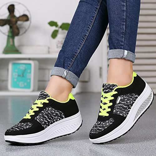 Ausom Womens Breathable Casual Swing Shoes Platform Wedges Toning Shoes Walking Fitness Outdoor Sneaker Black BmpAQ