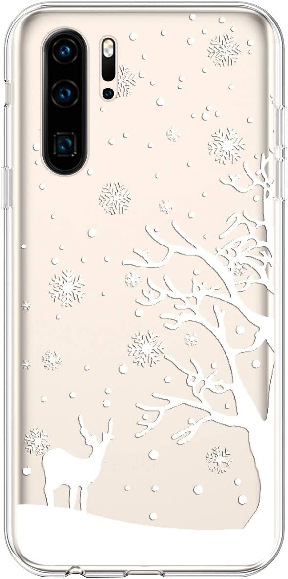 Herbests Compatible with Huawei P30 Pro Case Clear Floral Case Christmas Design Pattern Girls Women Girly Cute Soft TPU Silicone Back Cover Crystal Slim Protective Cover,Black Snowflake