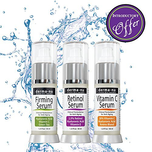 Anti-Aging Treatment Serum Trio - Hyaluronic Acid - Retinol Serum and Vitamin C - 3 Pack - Derma nu - 1.25 fl oz