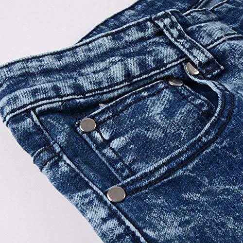 Alsbild In Biker Pantaloni Casual Vintage Cerniera Stile Slim Jeans Fit Uomo Denim Da Abbigliamento Elasticizzato Con ISZZfnFq