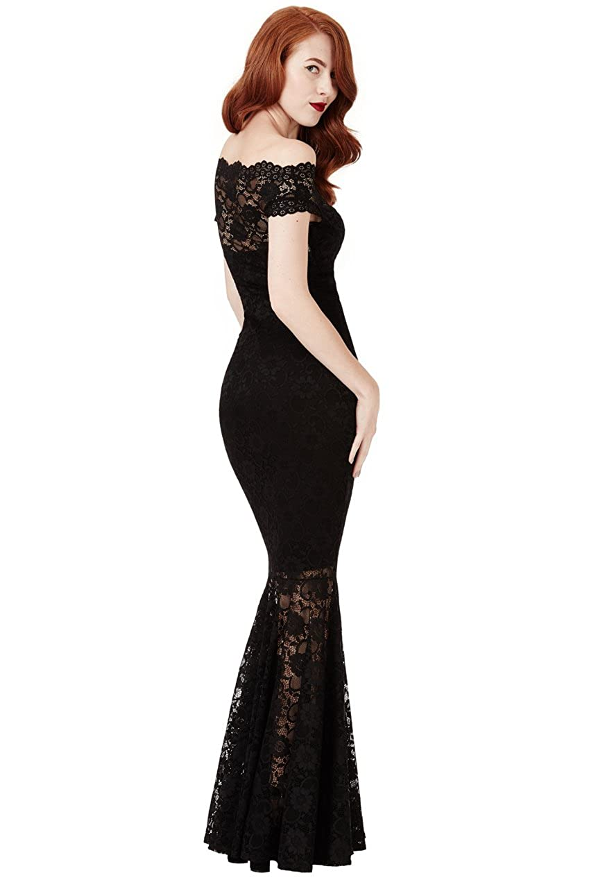 f6931612b7e Goddiva Black Lace Bardot Maxi Evening Fishtail Mermaid Formal Party Dress  Prom Bridesmaid (8)  Amazon.co.uk  Clothing