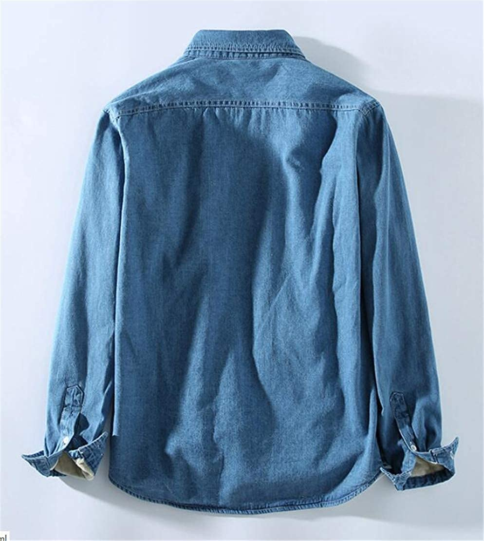Zantt Men Pocket Fleece Linen Long Sleeve Denim Winter Buttons Jeans Shirts