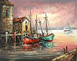 Golden Maple DIY Pre-Printed Canvas Oil Painting Gift Adults Kids Paint Number Kits Home Decorations- Home From Fishing 16*20 inch