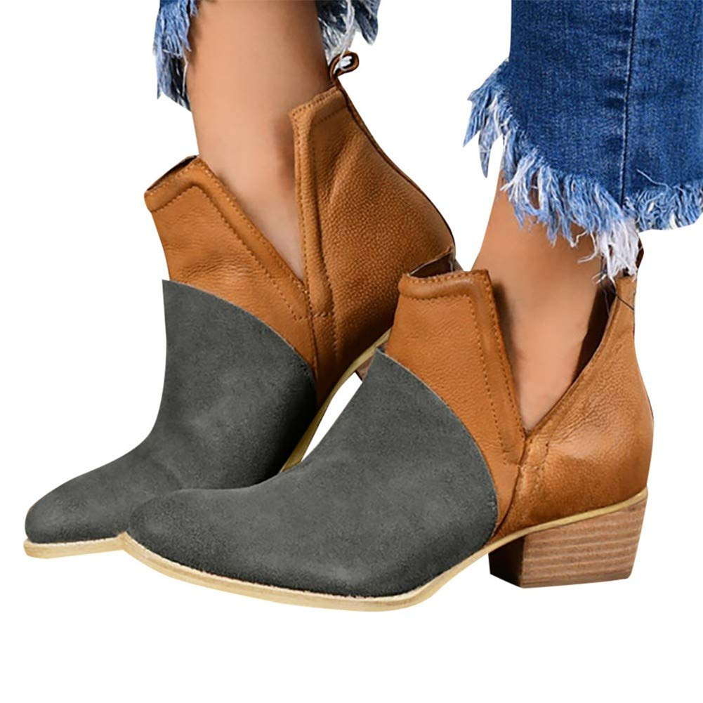 Gibobby Ankle Boots for Women Low Heel Winter Booties Women Ankle Boots Low Chunky Stacked Heel Perforated Shoes Side V Cut Western Booties Brown by Gibobby