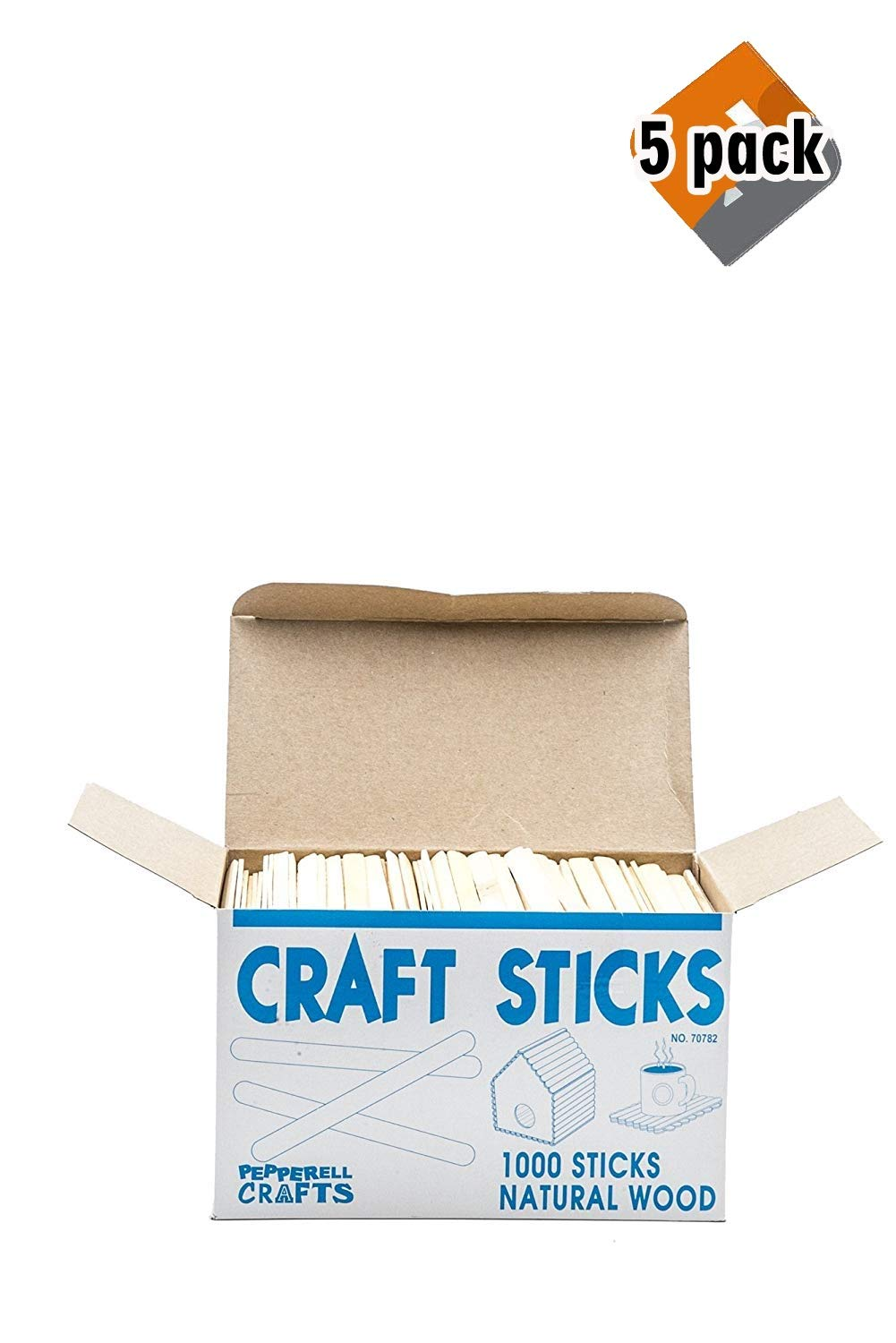Natural Wood Craft Sticks (Pack of 1,000), 5 Pack by PEPPERELL BRAIDING COMPANY