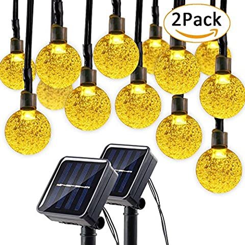 Lumitify 2 Pack Globe Solar String Lights, 19.7ft 30 LED Fairy Crystal Ball Christmas Lights, Outdoor Decorative Solar Lights for Home, Garden, Patio, Lawn, Party and Holiday(Warm - Christmas Lawn Lights