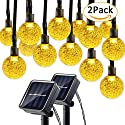 Lumitify 2 Pack Globe Solar String Lights, 19.7ft 30 LED Fairy Crystal Ball Lights, Outdoor Decorative Solar Lights for Christmas Home, Garden, Patio, Lawn, Party and Holiday(Warm White)