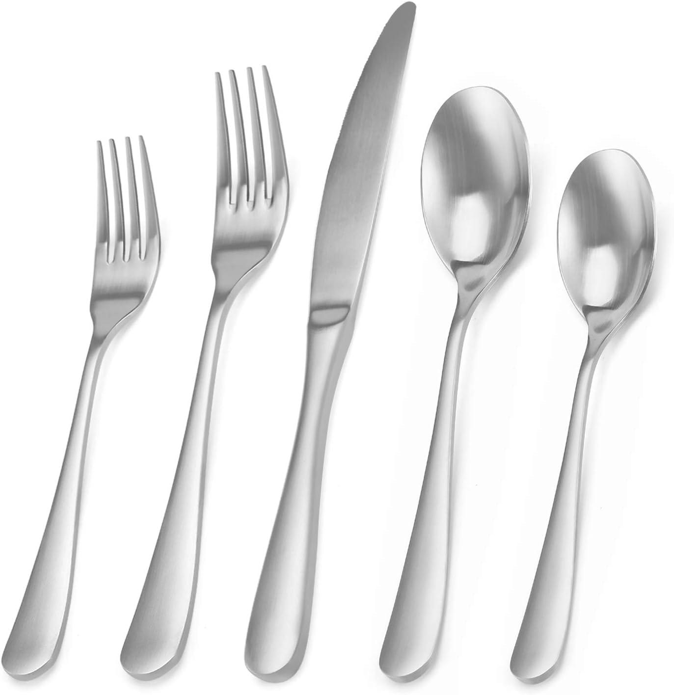 Matte Silverware Set, Bysta 20-Piece Stainless Steel Flatware Set, Kitchen Utensil Set Service for 4, Tableware Cutlery Set for Home and Restaurant, Satin Finish, Dishwasher Safe