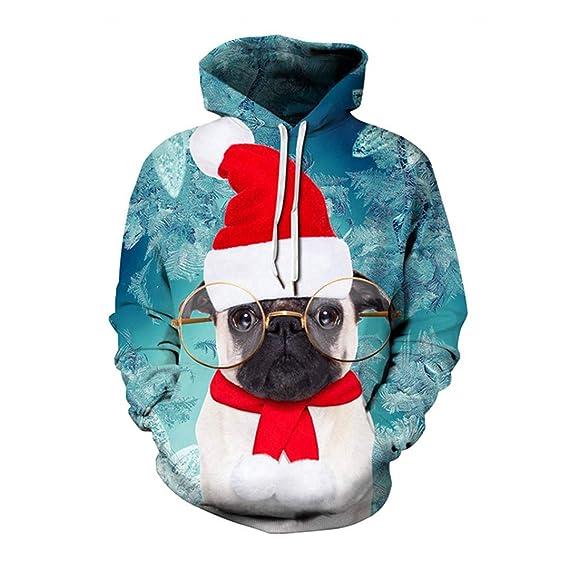 Perro Animal del Gato de Navidad Hombres Mujeres Hoodies impresión ...