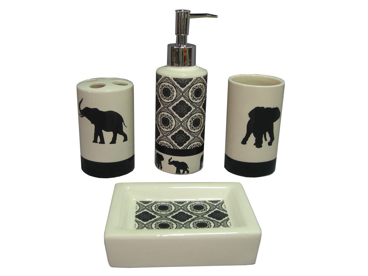 Genial Amazon.com: Indecor Home 4 Piece Ceramic Elephant Parade Bath Set: Home U0026  Kitchen