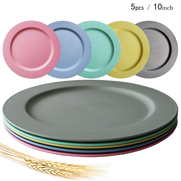10inch/5pcs Dishwasher & Microwave Safe Wheat Straw Plates - Lightweight & Unbreakable,Non-toxin, BPA free and Healthy for Kids Children Toddler & Adult
