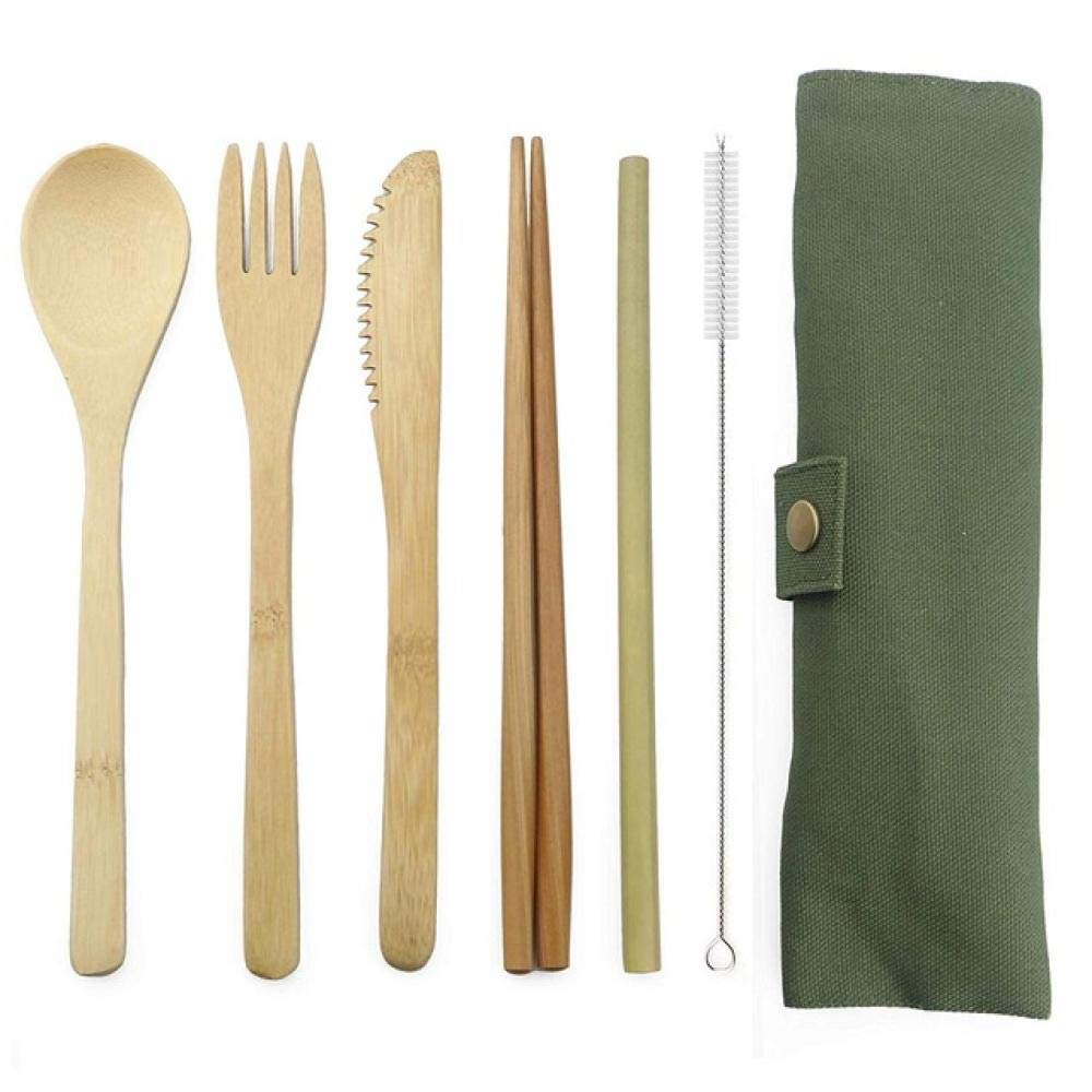 Cutlery Set Set 6-Piece Wooden Flatware Cutlery Set Bamboo Straw Dinnerware Set with Cloth Bag Knives Fork Spoon Chopsticks Travel (Color : Green) by Sihui