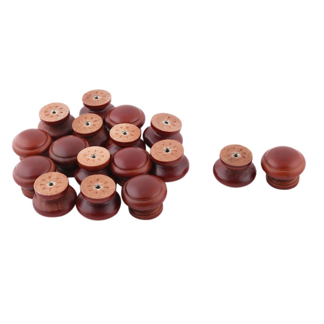 uxcell Wood Hotel Home Round Door Cupboard Closet Handle Grip Pull Knob 17pcs Brown