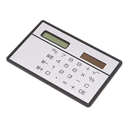 Pocket Size 8 Digit Calculator Black and Silver or Black Black and Silver