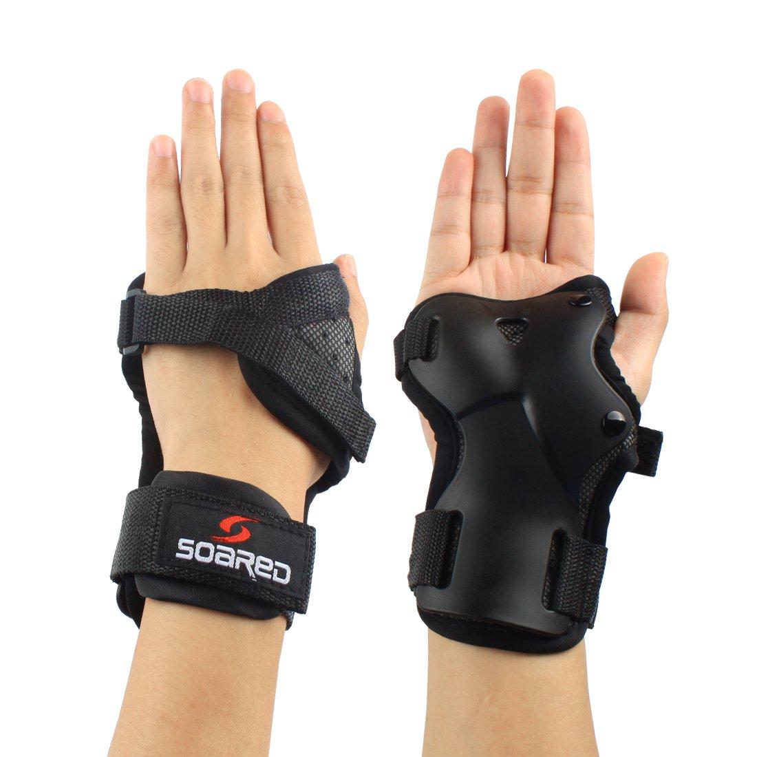 Andux Ski Gloves Wrist Palms Protection Roller Skating Hard Gauntlets Adjustable HXHW-05 (L (9.5-11cm))