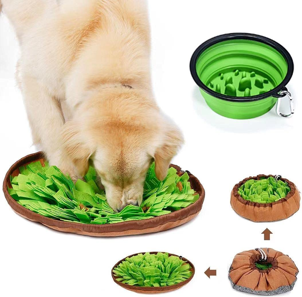 2IN1 Pet Snuffle Mat for Dogs,Interactive Dog Toys Pet Food Mat, Interactive Feed Game for Boredom,Collapsible Slow Feed Dog Bowl, Encourages Foraging Skills, Dog Treat Dispenser Stress Relief