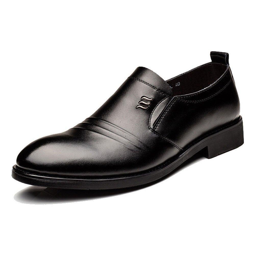 LEDLFIE Zapatos De Cuero Reales De Los Hombres Zapatos De Vestir Ocasionales De Cuero Genuino De La Primavera 41 EU|Black