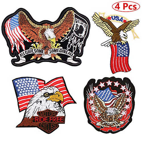USA American Flag Bald Eagle Iron on Patches Cool Badge Embroidered Sew on Patches for Vest Jackets Backpacks Clothes (4 Pcs) - Mens Eagle Applique