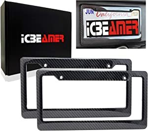 ICBEAMER Waterproof Black Plastic +Gloss Real Carbon Fiber for Auto Vehicle Truck Van License Plate Frames [Pack 2 pcs]